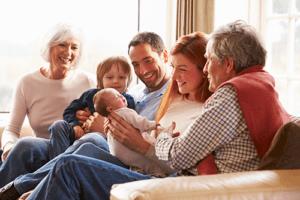 Happy multi-generational family